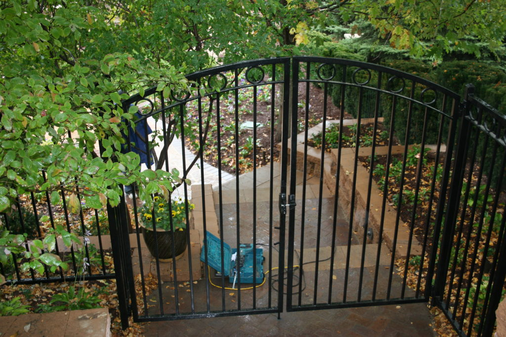 Residential arched ornamental walk gate with rings