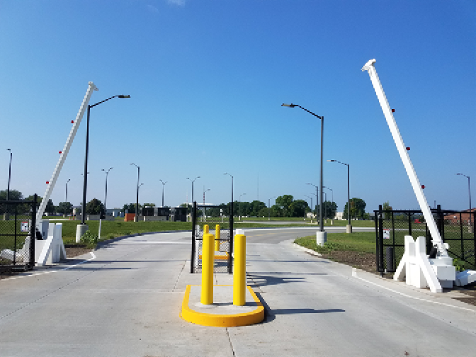 barrier arm installation at camp dodge iowa national guard