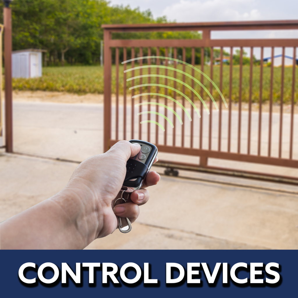 Control devices button image showing a person's hand operating a gate remote.   Grand Island automated electric gate opener operators solar motor motorized automatic access control driveway estate slide swing rolling cantilever vertical lift vertical pivot open close stop key pad switch push button three button control intercom call button telephone entry computerized entry loop exit obstruction shadow detector transmitter receiver radio frequency wifi linear box cantilever aluminum