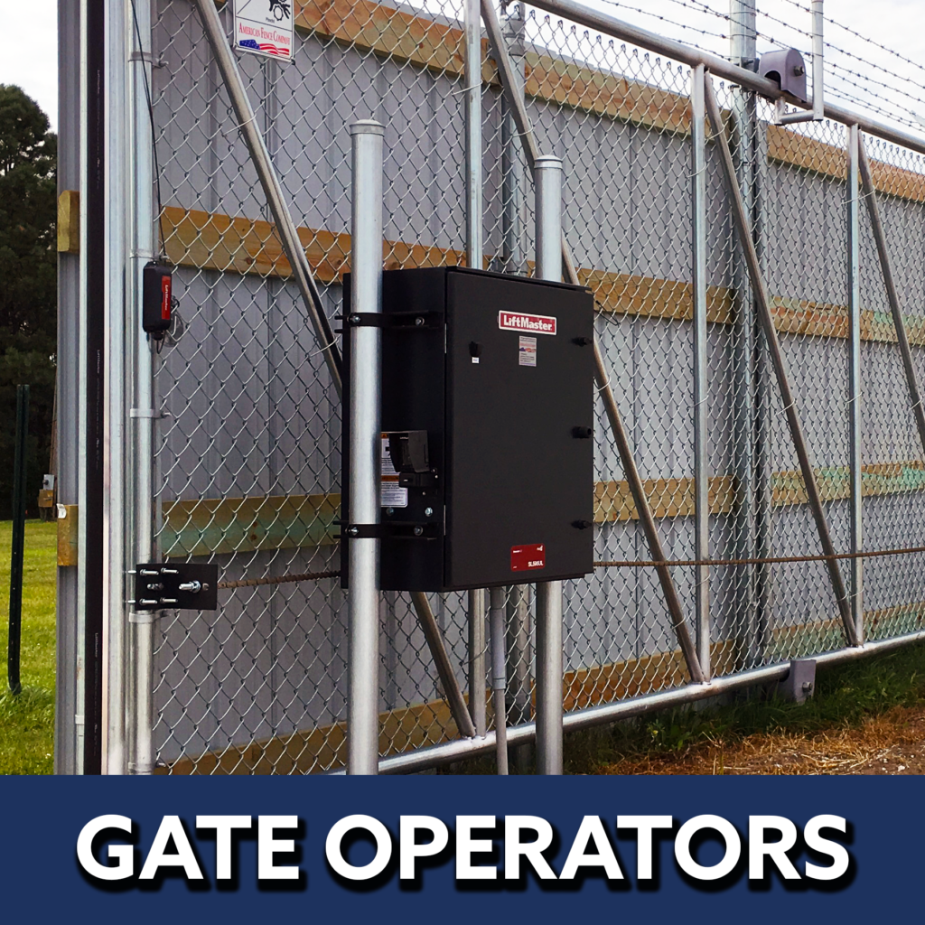 Gate operators button image featuring a chain link cantilever gate and operator panel.   automated electric gate opener operators solar motor motorized automatic access control driveway estate slide swing rolling cantilever vertical lift vertical pivot open close stop key pad switch push button three button control intercom call button telephone entry computerized entry loop exit obstruction shadow detector transmitter receiver radio frequency wifi linear box cantilever aluminum