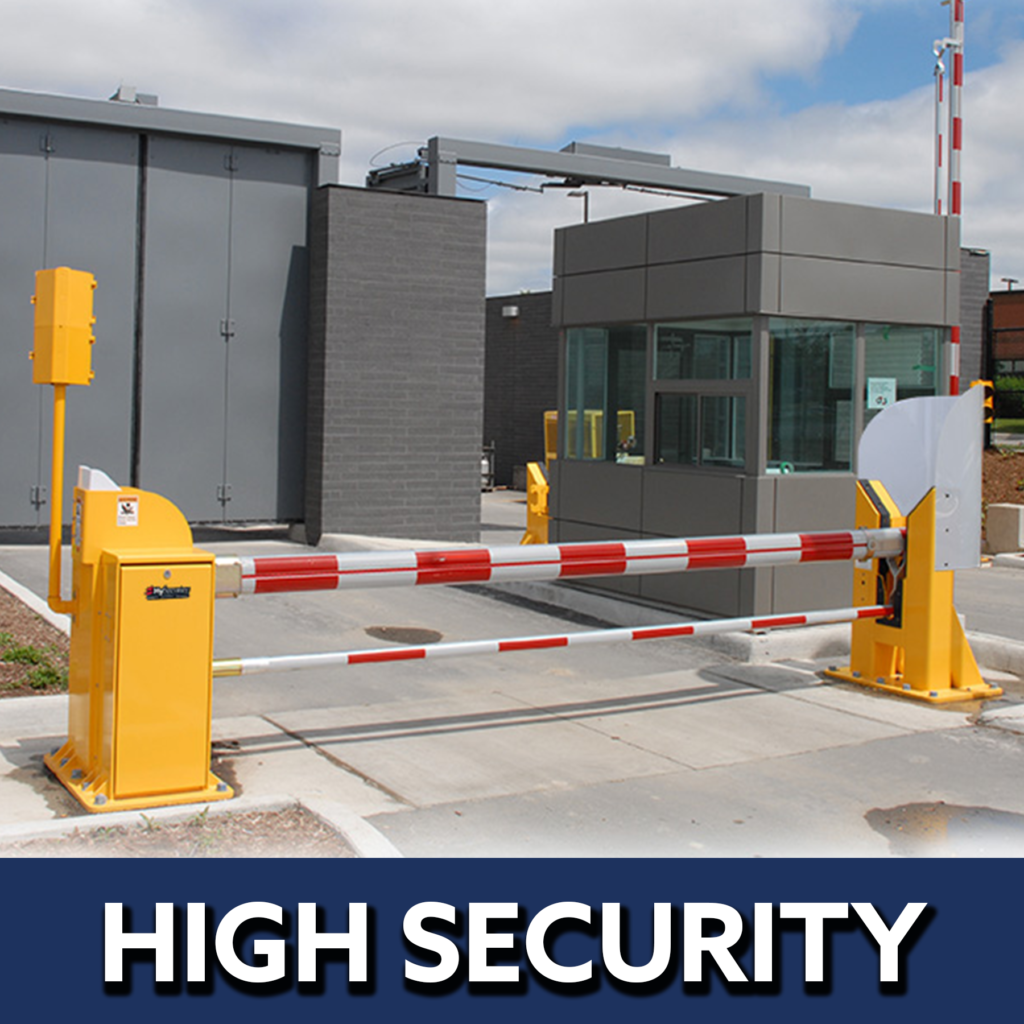 High security button image featuring a double bar arm barrier controlling access to a secure compound.   Commercial gate installation Grand Island access control gate contractors Nebraska automated electric gate opener operators solar motor motorized automatic access control driveway estate slide swing rolling cantilever vertical lift vertical pivot open close stop key pad switch push button three button control intercom call button telephone entry computerized entry loop exit obstruction shadow detector transmitter receiver radio frequency wifi linear box cantilever aluminum