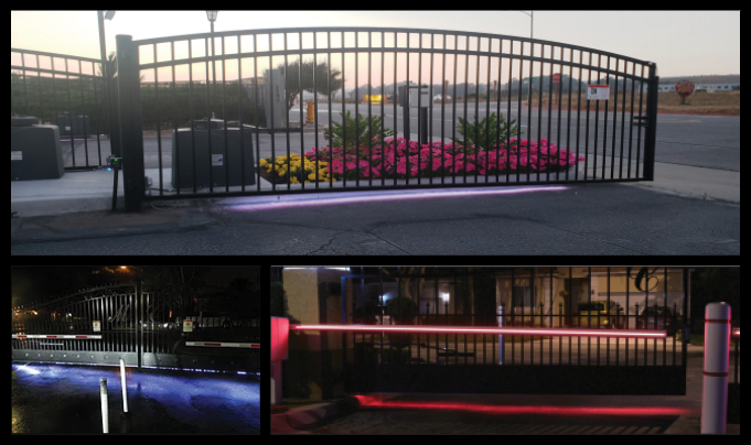 Swing and Slide Gates with LED lights installed on the bottom for extra visibility and guidance