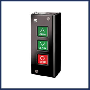 LiftMaster 3 button surface mount, indoors. Buttons for open, close & stop. Indicator light for maintenance. Interior mount only.