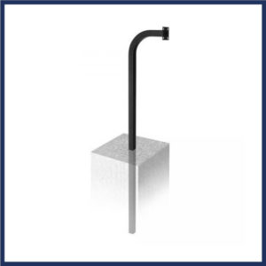 """64"""" gooseneck stand for gate devices. Burial mount configuration. Black powder coat finish. Rugged and weather resistant."""