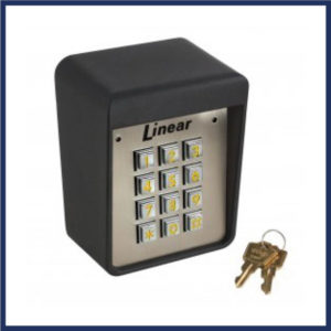 Linear outdoors gate keypad with keys. Holds up to 480 pin codes Rugged, cast aluminum enclosure Two LED indicators for system status