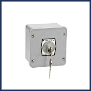 Tamper proof keyed switch. Two positions, open & close. Aluminum die cast enclosure. Mortise cylinder.