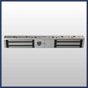 Dual MagLock (double electromagnetic lock) Double door configuration Anodized aluminum housing 0 to 90 second hold open timer