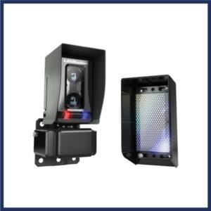 Gate photoelectric sensor. Plastic casing. 40 ft range for gate control. LED light indicators.