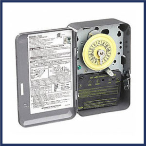 Electromagnetic 7 day timer with manual override. Manual override. On & off tripper included. Provides direct 24-Hour control of most loads.