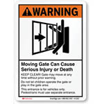 "Gate safety warning sign. Reads ""Warning! Moving gate can cause serious injury or death"""
