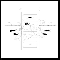 System design image. Double swing gate (inside) equipment call-out drawing.
