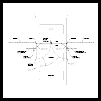 System design image. Double swing gate (outside) equipment call-out drawing.